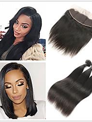 cheap -3 Bundles with Closure Peruvian Hair Straight Remy Human Hair Human Hair Extensions Hair Weft with Closure 8-26 inch Human Hair Weaves Soft Best Quality New Arrival Human Hair Extensions / 10A