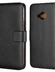 Недорогие -Кейс для Назначение HTC HTC U11 plus / HTC U11 Life / HTC U11 Кошелек / Бумажник для карт / со стендом Чехол Однотонный Твердый Настоящая кожа