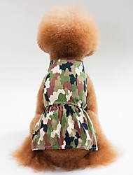 cheap -Dogs Cats Dress Dog Clothes Green Pink Costume Shiba Inu Pug Bichon Frise Cotton Camouflage Dresses&Skirts Casual / Daily XS S M L XL
