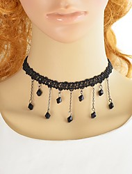 cheap -Women's Synthetic Tourmaline Pendant Necklace Single Strand Lucky Ladies Simple Gothic Fashion Lace Alloy Black 36 cm Necklace Jewelry 1pc For Party / Evening School