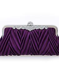 cheap -Women's Buttons Satin / Alloy Evening Bag Purple / Sillver Gray / Brown / Fall & Winter