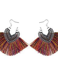 cheap -Women's Burgundy Drop Earrings Tassel Heart Ladies Vintage Bohemian Fashion Earrings Jewelry Coffee / Red / Blue For Daily 1 Pair
