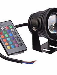 cheap -1pc 10 W Submersible Lights Underwater Lights for Swimming pool Waterproof Remote Controlled RGB 12 V Suitable for Vases & Aquariums 1 LED Beads