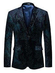 cheap -Men's Party / Work Fall & Winter Plus Size Regular Blazer, Floral Notch Lapel Long Sleeve Polyester Navy Blue / Business Casual