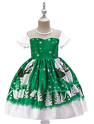 cheap -Kids Toddler Girls' Vintage Active Christmas Party Holiday Snowflake Christmas Short Sleeve Knee-length Dress Green