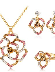 cheap -Women's Multicolor Cubic Zirconia Bridal Jewelry Sets Hollow Out Flower Ladies Fashion Earrings Jewelry Gold For Party Evening Party 1 set