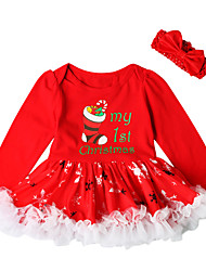 cheap -Baby Girls' Active / Basic Christmas / Party / Birthday Print / Christmas Long Sleeve Above Knee Cotton Dress Red