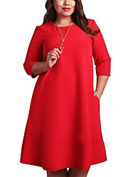 cheap -Women's Shift Dress Knee Length Dress - 3/4 Length Sleeve Red Solid Colored Clothing Plus Size Basic Red Green L XL XXL 3XL 4XL 5XL 6XL