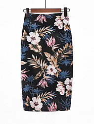 cheap -Women's Going out Basic Bodycon Skirts - Floral High Waist Black L XL XXL / Slim