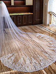 cheap -One-tier Sweet Style / Flower Style Wedding Veil Cathedral Veils with Appliques Lace / Tulle / Mantilla