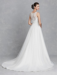 cheap -A-Line Bateau Neck Court Train Lace / Tulle Regular Straps Beautiful Back Made-To-Measure Wedding Dresses with Ruched 2020