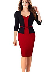 cheap -Women's Red Blue Dress Basic Fall Work Sheath Solid Colored Sweetheart Neckline S M Slim