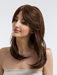 cheap -Human Hair Wig Straight Side Part Dark Brown Natural Hairline Capless Women's Brown 22 inch Daily Wear