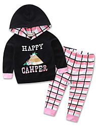cheap -Baby Girls' Casual / Active Daily / Sports Houndstooth / Halloween Print Long Sleeve Regular Clothing Set Black / Toddler