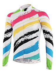 abordables -Arsuxeo Homme Manches Longues Maillot Velo Cyclisme Blanche Cyclisme Hauts / Top VTT Vélo tout terrain Vélo Route Poche arrière Anti-transpiration Des sports Polyster Vêtement Tenue / Triathlon