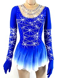 cheap -Figure Skating Dress Women's Girls' Ice Skating Dress Blue Halo Dyeing Spandex Micro-elastic Professional Competition Skating Wear Handmade Sequin Long Sleeve Figure Skating