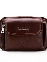 cheap -Men's Zipper Cowhide Sling Shoulder Bag Brown