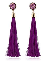 cheap -Women's Drop Earrings Hanging Earrings Tassel Long Roses Flower Ladies Bohemian European Fashion Elegant Rhinestone Earrings Jewelry Green / Pink / Light Blue For Party Causal 1 Pair