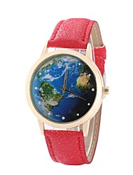 cheap -Women's Dress Watch Wrist Watch World Map Quartz Quilted PU Leather Black / White / Blue New Design Casual Watch Analog Ladies Casual World Map - Red Blue Pink One Year Battery Life