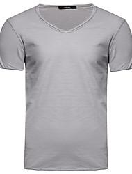 cheap -Men's Daily Basic Cotton T-shirt - Solid Colored V Neck Light Blue / Short Sleeve / Summer