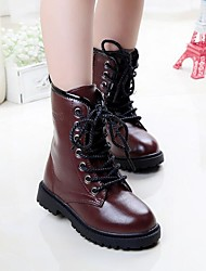 cheap -Girls' Combat Boots PU Boots Toddler(9m-4ys) / Little Kids(4-7ys) / Big Kids(7years +) Lace-up Black / Red / Wine Winter / Mid-Calf Boots