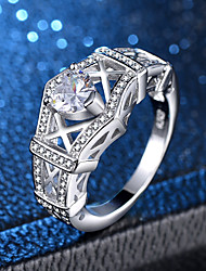 cheap -Women's Ring 1pc Silver Copper Platinum Plated Imitation Diamond Ladies Elegant Romantic Wedding Engagement Jewelry Hollow Out Heart Love Heart