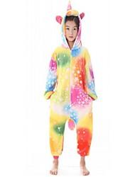 cheap -Kid's Kigurumi Pajamas Flying Horse Onesie Pajamas Flannel Fabric Rainbow Cosplay For Boys and Girls Animal Sleepwear Cartoon Festival / Holiday Costumes