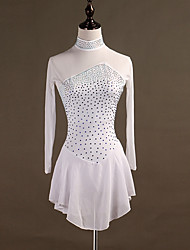 cheap -Figure Skating Dress Women's Girls' Ice Skating Dress White Spandex Stretch Yarn High Elasticity Professional Competition Skating Wear Quick Dry Anatomic Design Handmade Classic Long Sleeve / Kid's
