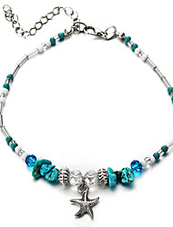 cheap -Women's Turquoise Bead Bracelet Pendant Bracelet Vintage Style Beads Starfish Ladies Classic Tropical Resin Bracelet Jewelry Blue For Carnival Bikini