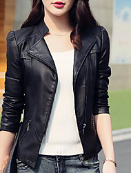 cheap -Women's Stand Collar Faux Leather Jacket Short Solid Colored Daily Basic Black S M L XL