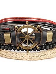 cheap -4pcs Men's Leather Bracelet Retro Rope Anchor Stylish Steampunk scottish PU(Polyurethane) Bracelet Jewelry Brown For Gift Carnival