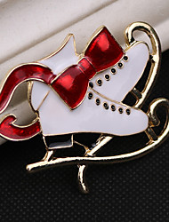 cheap -Women's AAA Cubic Zirconia Brooches Classic Santa Suits Shoe Classic Cartoon Cute Rhinestone Brooch Jewelry White For Christmas Daily
