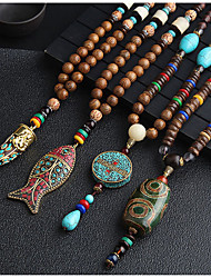 cheap -Women's Pendant Necklace Statement Necklace Necklace Long Beads Animal Ladies Fashion Boho Ancient Rome Resin Copper Alloy Gold Silver Red / Blue 80 cm Necklace Jewelry 1pc For Daily Street