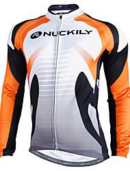 cheap -Nuckily Men's Long Sleeve Cycling Jersey Orange Patchwork Bike Jersey Top Mountain Bike MTB Road Bike Cycling Waterproof Windproof Reflective Strips Sports Winter Polyester Fleece Velvet Clothing