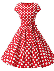 cheap -Women's Polka Dot Plus Size Red Blue Dress Vintage Summer Daily A Line Polka Dot Print S M / Cotton