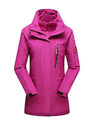 cheap -Women's Hoodie Jacket Hiking Jacket Winter Outdoor Thermal / Warm Windproof UV Resistant Breathable 3-in-1 Jacket Top Single Slider Camping / Hiking Ski / Snowboard Fishing Black / Sky Blue / Fuchsia