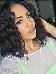 cheap -Remy Human Hair Full Lace Lace Front Wig Asymmetrical Rihanna style Brazilian Hair Water Wave Black Wig 130% 150% 180% Density with Baby Hair Women Easy dressing Sexy Lady Natural Women's 8-14 Human