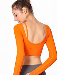 cheap -Women's Yoga Top Open Back Solid Color Black White Orange Grey Zumba Running Pilates Sweatshirt Crop Top Long Sleeve Sport Activewear Breathable Soft Sweat-wicking High Elasticity Slim