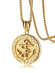 cheap -Men's Pendant Necklace Stylish Anchor Fashion scottish Titanium Steel Gold 60 cm Necklace Jewelry 1 set For Daily Date
