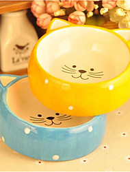 cheap -Dogs Cats Feeders 0.5 L Plastic Portable washable Cartoon Design Polka Dot Cartoon Yellow Blue Bowls & Feeding
