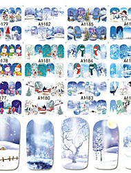 cheap -12 pcs Water Transfer Sticker Santa Suits / Snowflake nail art Manicure Pedicure New Design / Best Quality / High quality, formaldehyde free Cartoon / Sweet Christmas / Halloween / Party / Evening
