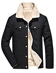 cheap -Men's Going out Winter / Fall & Winter Regular Jacket, Color Block Turndown Long Sleeve Polyester Black / Army Green / Khaki