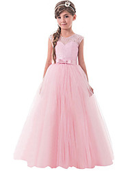 cheap -Ball Gown Floor Length Party / Wedding Flower Girl Dresses - Tulle Sleeveless Jewel Neck with Bow(s) / Solid