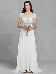 cheap -Mermaid / Trumpet Wedding Dresses Bateau Neck Sweep / Brush Train Satin Long Sleeve Mordern Backless with Buttons 2021