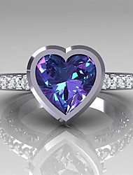 cheap -Women's Engagement Ring Sapphire Cubic Zirconia 1pc White Purple Copper Rhinestone Round irregular Ladies Stylish Romantic Wedding Engagement Jewelry Classic Stylish Heart Heart