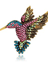 cheap -Women's Brooches Vintage Style 3D Bird Animal Ladies Unique Design Vintage everyday fancy Rhinestone Gold Plated Brooch Jewelry Rainbow For Evening Party Street