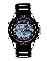 Недорогие -ASJ Муж. Спортивные часы электронные часы Японский Кварцевый Стеганная ПУ кожа Черный 30 m Защита от влаги Календарь Секундомер Аналого-цифровые На каждый день Мода - Черный Красный