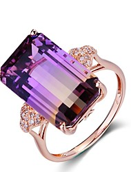 cheap -Women's Ring Amethyst 1pc Rose Gold Copper Rectangle Ladies Elegant Wedding Party Jewelry Stack Cocktail Ring Mood