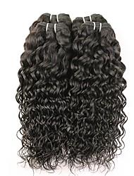 cheap -4 Bundles Brazilian Hair Water Wave Human Hair Natural Color Hair Weaves / Hair Bulk Extension Bundle Hair 8-28 inch Natural Color Human Hair Weaves Women Extention Best Quality Human Hair Extensions