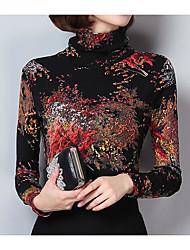 cheap -Women's Going out Street chic Slim T-shirt - Geometric Turtleneck Black